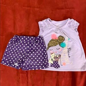 Little girls 3T Paris purple tshirt and short set
